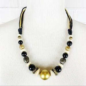 90's 80's Women's Beaded Necklace Gold Black